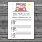Family Hippo Baby Animals Name Game,Family Hippo Baby shower games,INSTANT DOWNLOAD--290