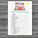 Family Hippo Baby Word Scramble Game,Family Hippo Baby shower games,INSTANT DOWNLOAD--290
