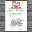 Family Hippo Celebrity Baby Name Game,Family Hippo Baby shower games,INSTANT DOWNLOAD--290