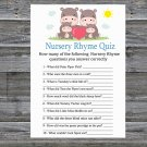 Family Hippo Nursery Rhyme Quiz Game,Family Hippo Baby shower games,INSTANT DOWNLOAD--290