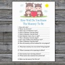 Family Hippo How Well Do You Know Game,Family Hippo Baby shower games,INSTANT DOWNLOAD--290