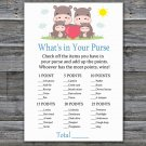 Family Hippo What's In Your Purse Game,Family Hippo Baby shower games,INSTANT DOWNLOAD--290