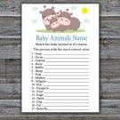Funny Hippo Baby Animals Name Game,Funny Hippo Baby shower games,INSTANT DOWNLOAD--289