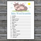 Funny Hippo Baby Word Scramble Game,Funny Hippo Baby shower games,INSTANT DOWNLOAD--289