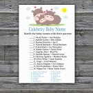 Funny Hippo Celebrity Baby Name Game,Funny Hippo Baby shower games,INSTANT DOWNLOAD--289