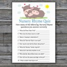 Funny Hippo Nursery Rhyme Quiz Game,Funny Hippo Baby shower games,INSTANT DOWNLOAD--289