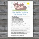 Funny Hippo How Well Do You Know Game,Funny Hippo Baby shower games,INSTANT DOWNLOAD--289