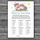 Funny Hippo What's In Your Purse Game,Funny Hippo Baby shower games,INSTANT DOWNLOAD--289