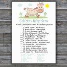 Giraffe Celebrity Baby Name Game,Giraffe Baby shower games,INSTANT DOWNLOAD--288