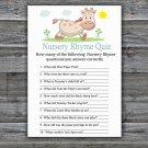 Giraffe Nursery Rhyme Quiz Game,Giraffe Baby shower games,INSTANT DOWNLOAD--288