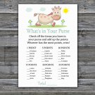 Giraffe What's In Your Purse Game,Giraffe Baby shower games,INSTANT DOWNLOAD--288