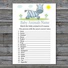Zebra Baby Animals Name Game,Zebra Baby shower games,INSTANT DOWNLOAD--287