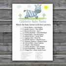 Zebra Celebrity Baby Name Game,Zebra Baby shower games,INSTANT DOWNLOAD--287