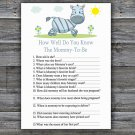 Zebra How Well Do You Know Game,Zebra Baby shower games,INSTANT DOWNLOAD--287