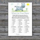 Zebra What's In Your Purse Game,Zebra Baby shower games,INSTANT DOWNLOAD--287