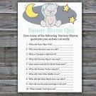 Teddy bear Nursery Rhyme Quiz Game,Teddy bear Baby shower games,INSTANT DOWNLOAD--286