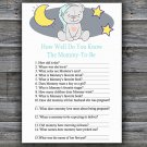 Teddy bear How Well Do You Know Game,Teddy bear Baby shower games,INSTANT DOWNLOAD--286