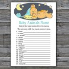Teddy bear Baby Animals Name Game,Sleepy Teddy bear Baby shower games,INSTANT DOWNLOAD--285