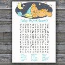 Teddy bear Baby Shower Word Search Game,Sleepy Teddy bear Baby shower games,INSTANT DOWNLOAD--285