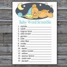 Teddy bear Baby Word Scramble Game,Sleepy Teddy bear Baby shower games,INSTANT DOWNLOAD--285