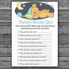 Teddy bear Nursery Rhyme Quiz Game,Sleepy Teddy bear Baby shower games,INSTANT DOWNLOAD--285