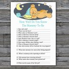 Teddy bear How Well Do You Know Game,Sleepy Teddy bear Baby shower games,INSTANT DOWNLOAD--285