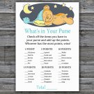 Teddy bear What's In Your Purse Game,Sleepy Teddy bear Baby shower games,INSTANT DOWNLOAD--285