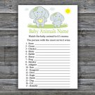 Blue elephant Baby Animals Name Game,Blue elephant Baby shower games,INSTANT DOWNLOAD--284