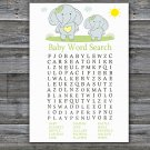 Blue elephant Baby Shower Word Search Game,Blue elephant Baby shower games,INSTANT DOWNLOAD--284