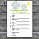 Blue elephant Baby Word Scramble Game,Blue elephant Baby shower games,INSTANT DOWNLOAD--284