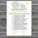 Blue elephant Celebrity Baby Name Game,Blue elephant Baby shower games,INSTANT DOWNLOAD--284