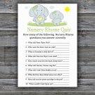 Blue elephant Nursery Rhyme Quiz Game,Blue elephant Baby shower games,INSTANT DOWNLOAD--284