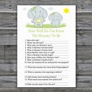 Blue elephant How Well Do You Know Game,Blue elephant Baby shower games,INSTANT DOWNLOAD--284