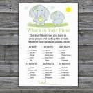 Blue elephant What's In Your Purse Game,Blue elephant Baby shower games,INSTANT DOWNLOAD--284
