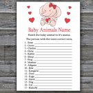 Rose elephant Baby Animals Name Game,Rose elephant Baby shower games,INSTANT DOWNLOAD--283