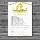Cute giraffe How Well Do You Know Game,Giraffe Baby shower games,INSTANT DOWNLOAD--282