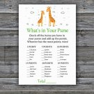 Giraffe What's In Your Purse Game,Giraffe Baby shower games,INSTANT DOWNLOAD--281