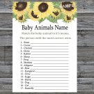 Sunflower Baby Animals Name Game,Sunflower Baby shower games,INSTANT DOWNLOAD--221
