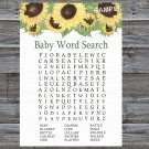 Sunflower Baby Shower Word Search Game,Sunflower Baby shower games,INSTANT DOWNLOAD--221