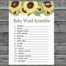 Sunflower Baby Word Scramble Game,Sunflower Baby shower games,INSTANT DOWNLOAD--221