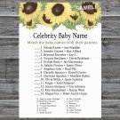 Sunflower Celebrity Baby Name Game,Sunflower Baby shower games,INSTANT DOWNLOAD--221