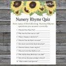 Sunflower Nursery Rhyme Quiz Game,Sunflower Baby shower games,INSTANT DOWNLOAD--221