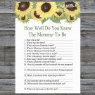 Sunflower How Well Do You Know Game,Sunflower Baby shower games,INSTANT DOWNLOAD--221