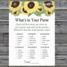 Sunflower What's In Your Purse Game,Sunflower Baby shower games,INSTANT DOWNLOAD--221