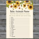Sunflower Baby Animals Name Game,Sunflower Baby shower games,INSTANT DOWNLOAD--220