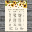 Sunflower Baby Shower Word Search Game,Sunflower Baby shower games,INSTANT DOWNLOAD--220