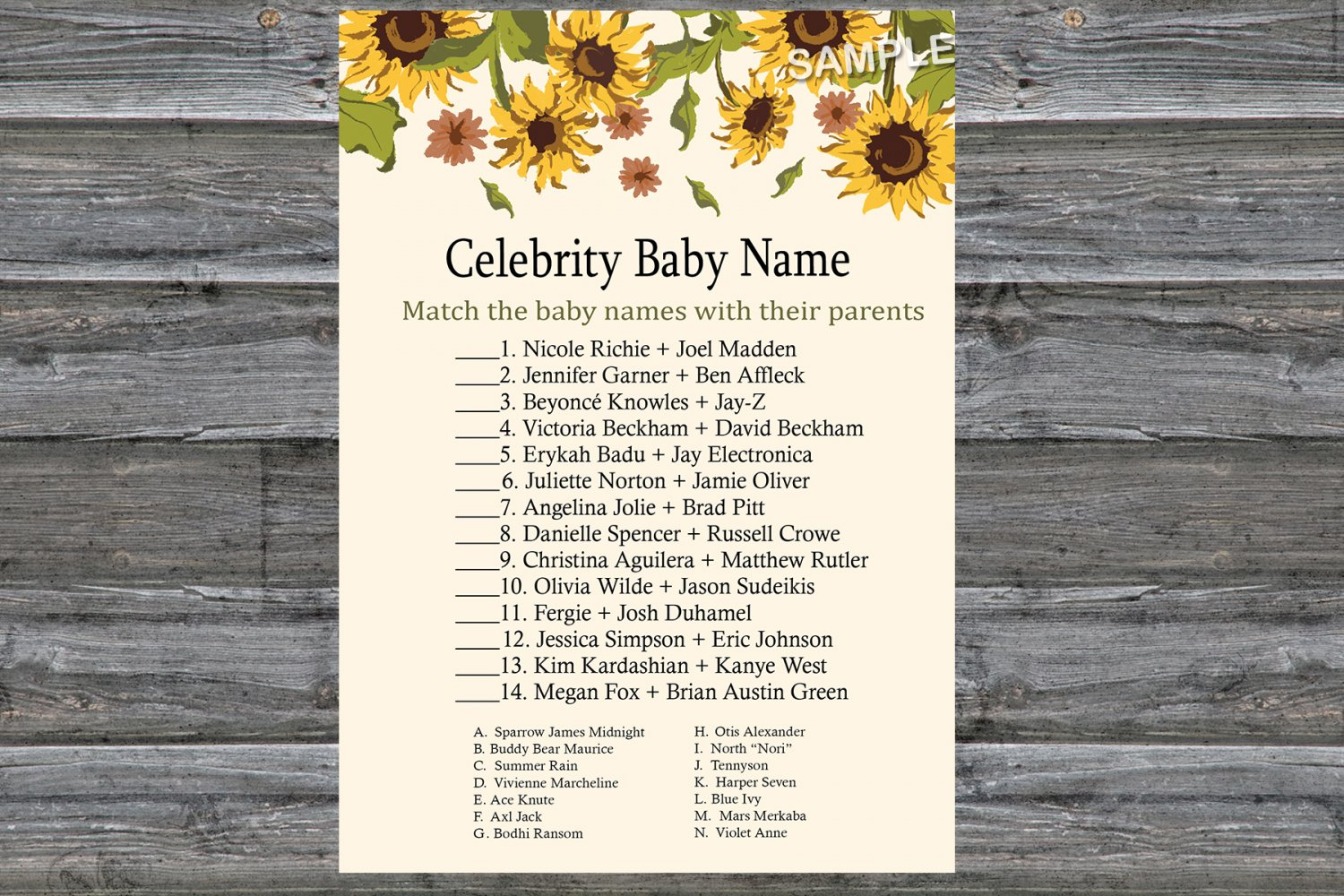 Sunflower Celebrity Baby Name Game,Sunflower Baby shower games,INSTANT DOWNLOAD--220