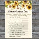 Sunflower Nursery Rhyme Quiz Game,Sunflower Baby shower games,INSTANT DOWNLOAD--220