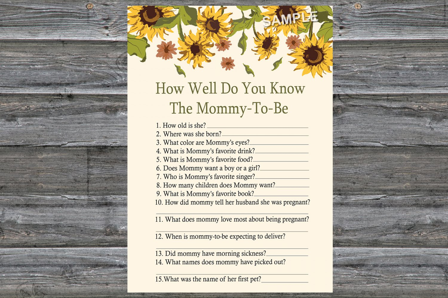 Sunflower How Well Do You Know Game,Sunflower Baby shower games,INSTANT DOWNLOAD--220
