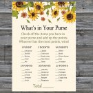 Sunflower What's In Your Purse Game,Sunflower Baby shower games,INSTANT DOWNLOAD--220